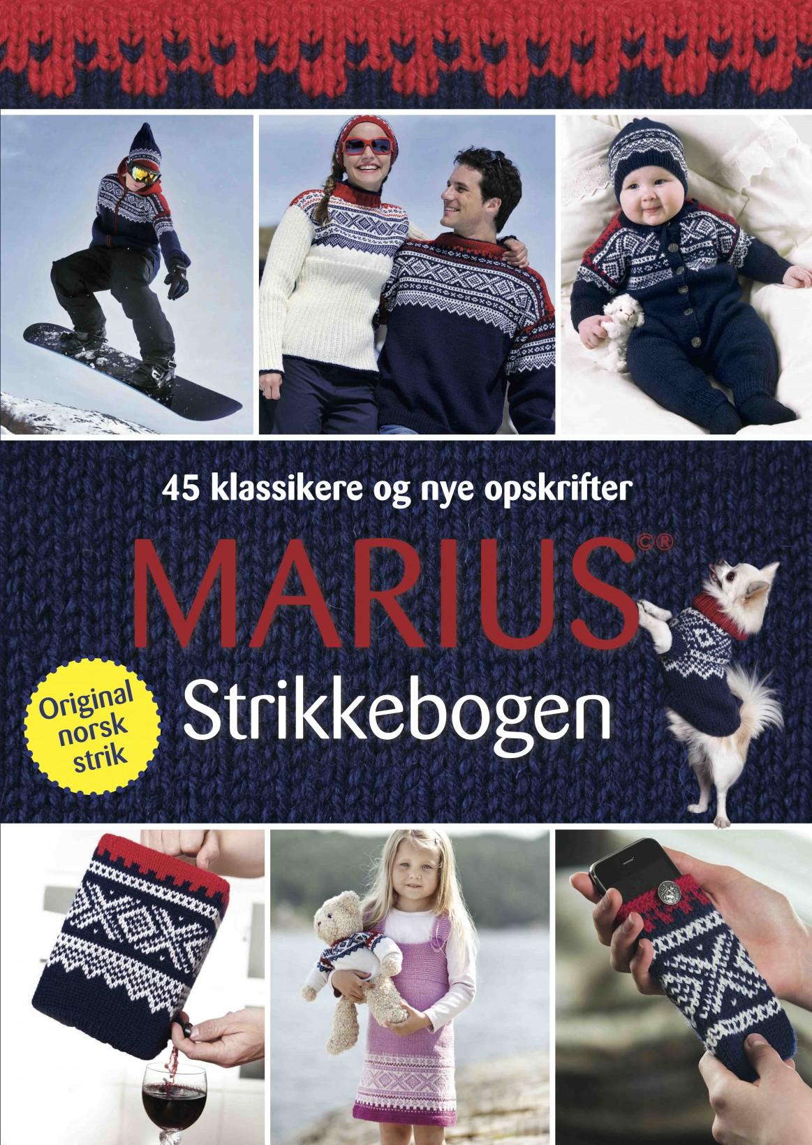 Marius strikkebogen - forside, Marius strikkebogen af Vigdis Augusta Yran Dale